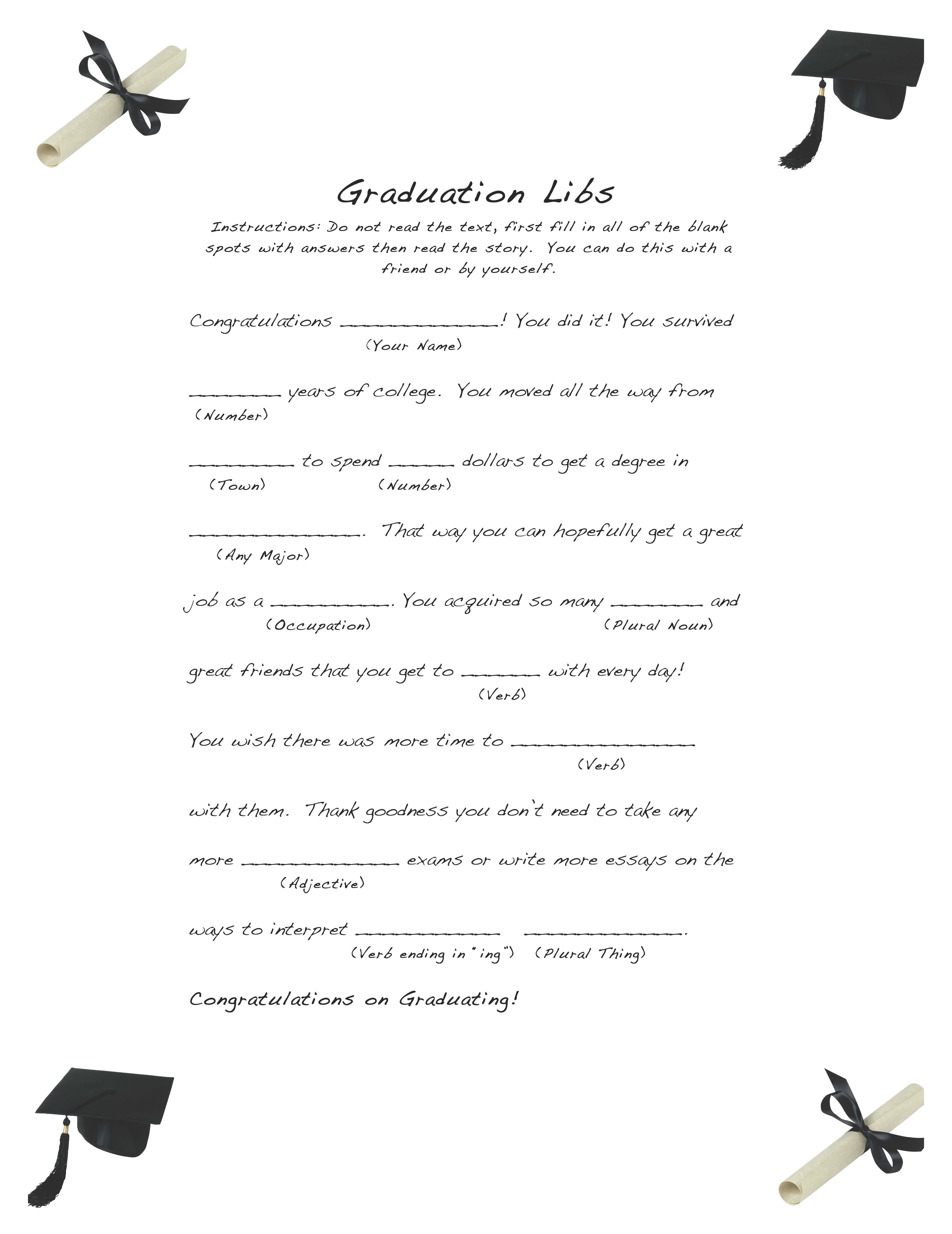 graphic about Free Mad Libs Printable identified as Cost-free and Uncomplicated Commencement Libs Simple Party Tips