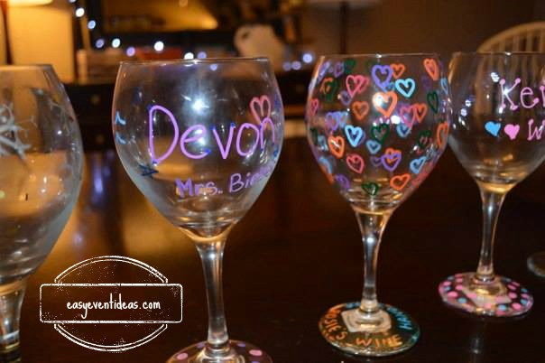 A clean bachelorette party activity easy event ideas for How to decorate wine glasses with sharpies