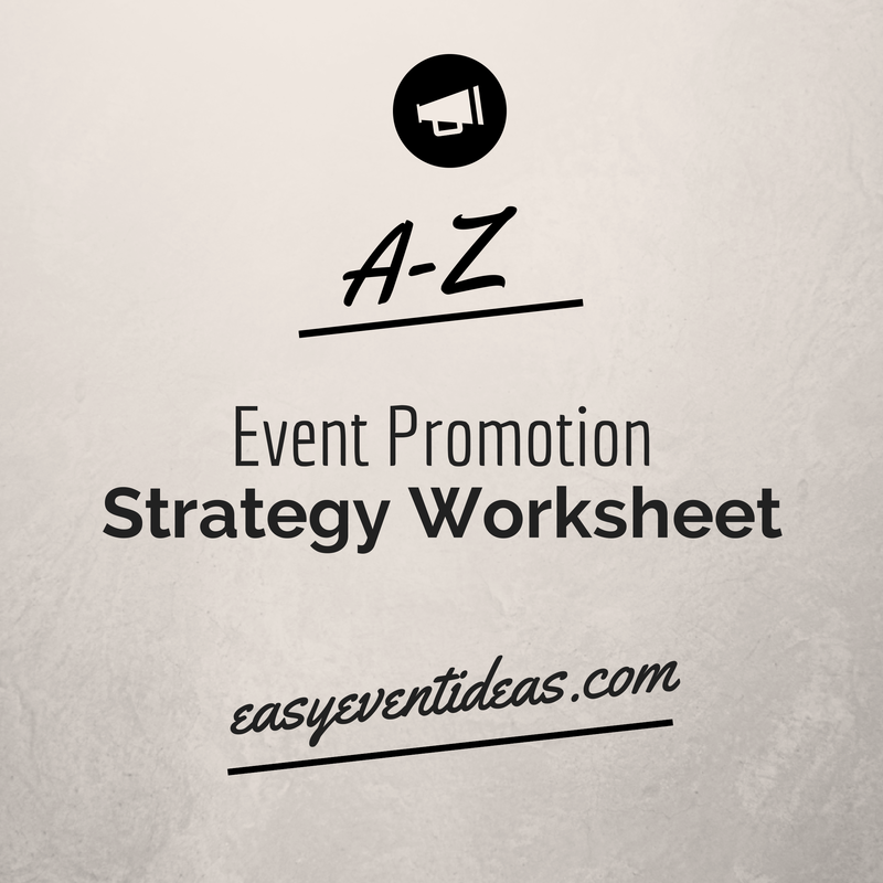 A-Z Event Promotion Strategy Worksheet – Easy Event Ideas