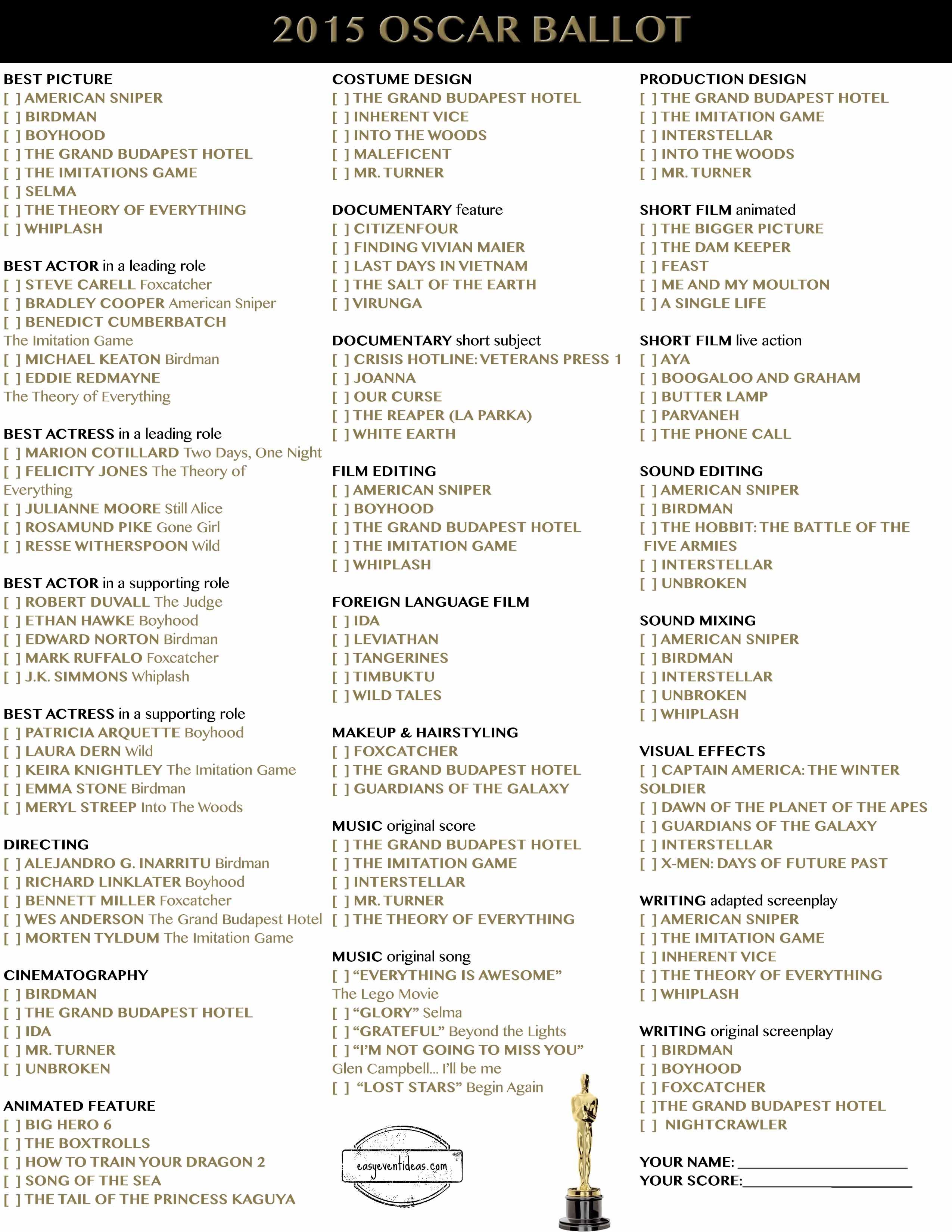 Oscars 2015 Website