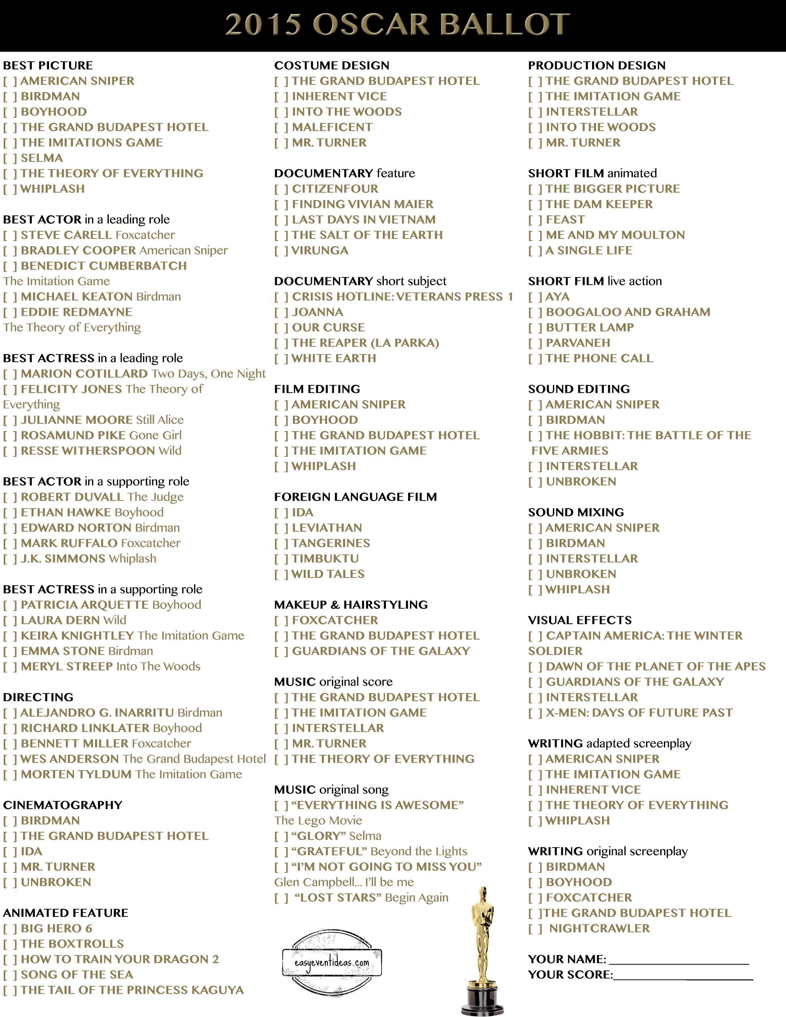 Oscar Ballot Template ballot template related keywords & suggestions ...