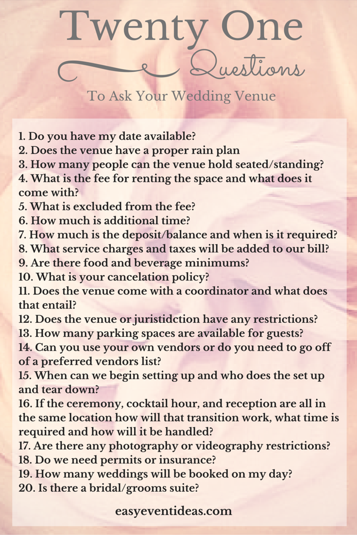 graphic about Questions to Ask Wedding Venue Printable identify 21 Inquiries in the direction of talk to your Marriage Location Very simple Occasion Strategies