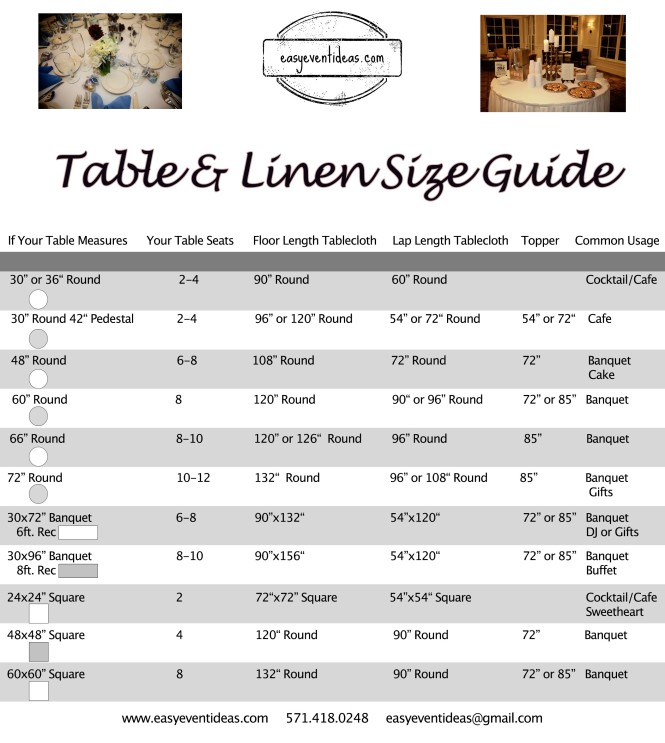 Table & Linen Size Guide