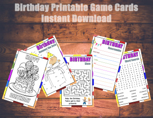Kids Birthday Printable Games $6