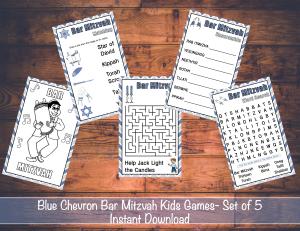 Blue Chevron Bar Mitzvah