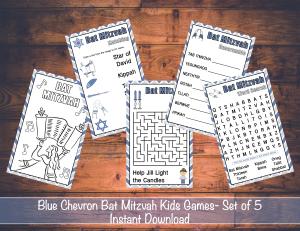 Blue Chevron Bat Mitzvah