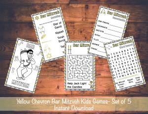 Yellow Chevron Bar Mitzvah