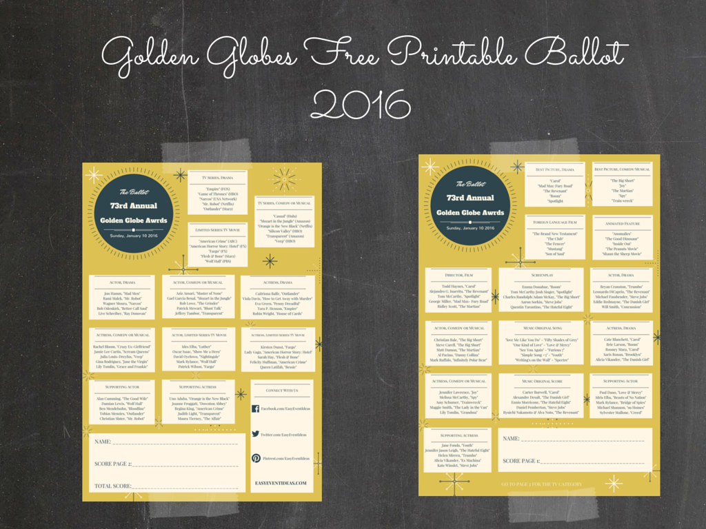 photograph about Golden Globe Ballots Printable called Golden Entire world Award Totally free Printable Ballot 2016 Very simple Occasion Strategies