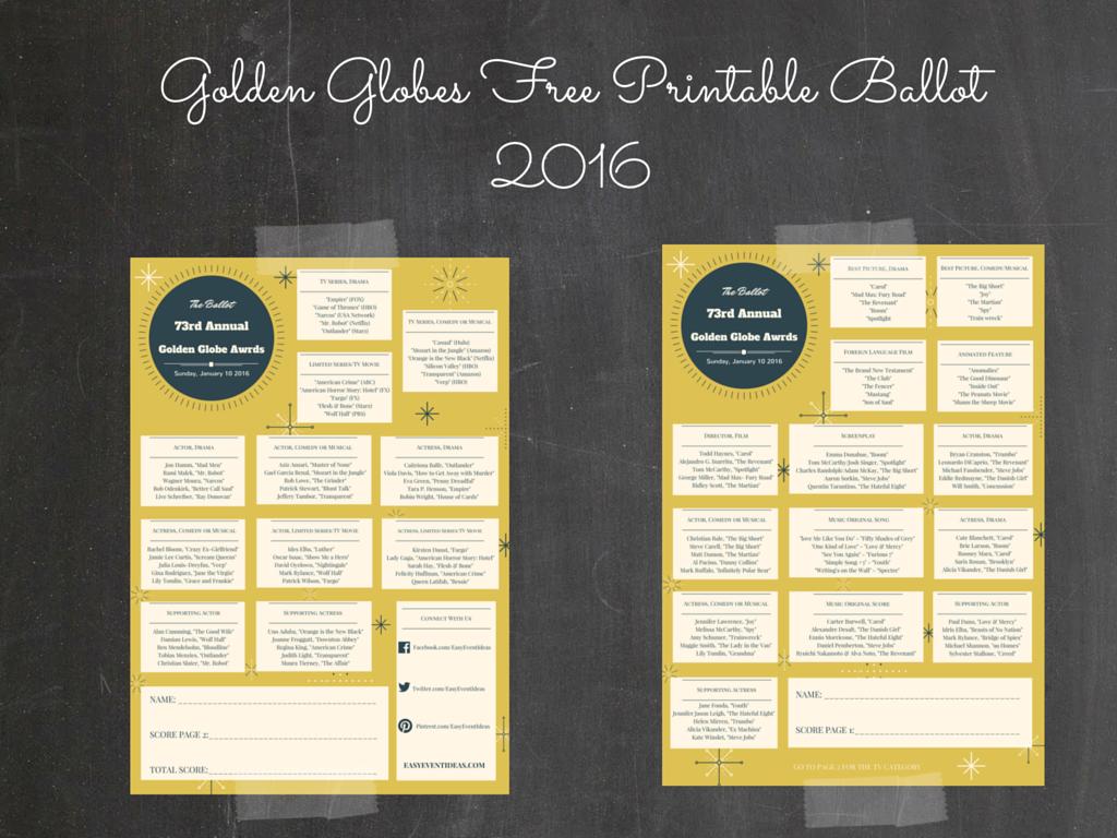 graphic regarding Golden Globe Ballot Printable referred to as Golden World Award Free of charge Printable Ballot 2016 Straightforward Party Plans