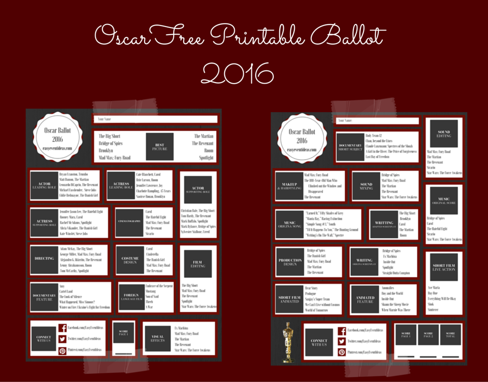 photo relating to Golden Globe Ballot Printable known as cost-free printable Site 2 Straightforward Occasion Suggestions
