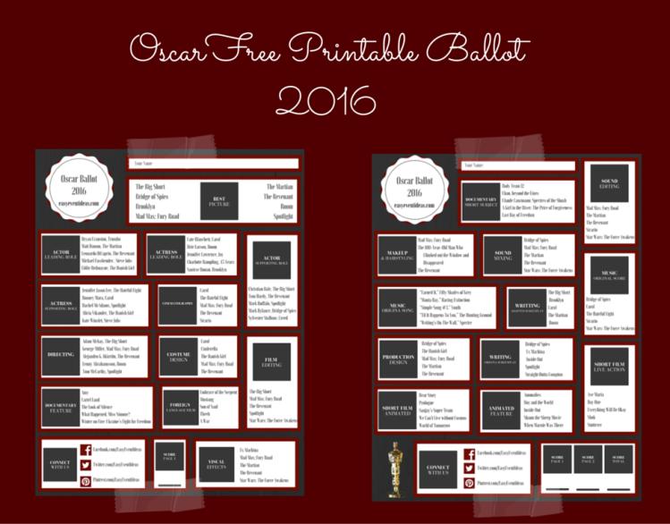 OSCAR Free Printable Ballot