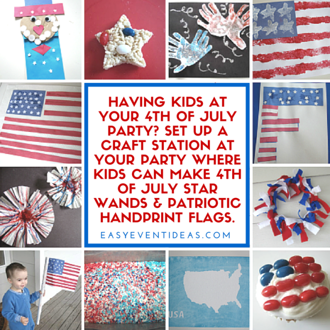 Having kids at your 4th of July party? Set up a craft station at your party where kids can make 4th of July star wands & patriotic handprint flags.