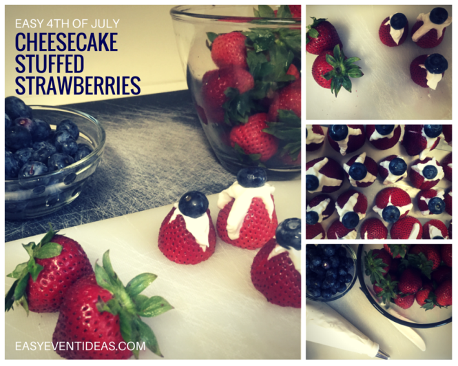 4th of july Cheesecake stuffed Strawberries