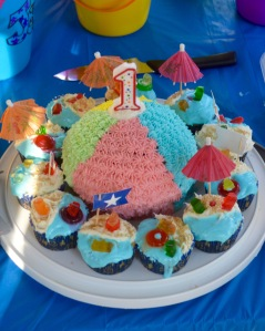 Beach Ball Cake and Beach Cupcakes