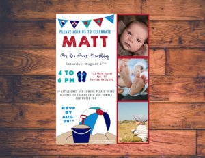 Beach Theme Birthday Invite
