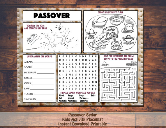 Passover And Easter Printable Placemats Easy Event Ideas